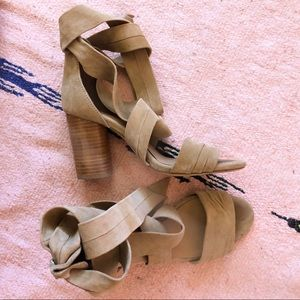 Raye Taupe Suede Wrap Heeled Sandals